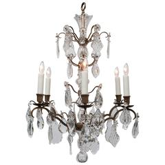 Louis XV Style Bronze and Crystal Six-Light Chandelier, France, circa 1920