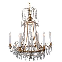 Unusual Neoclassic Style Bronze and Crystal Chandelier, circa 1910