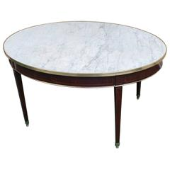 Rare Marble-Topped Edwardian Dining or Center Table, England, circa 1910