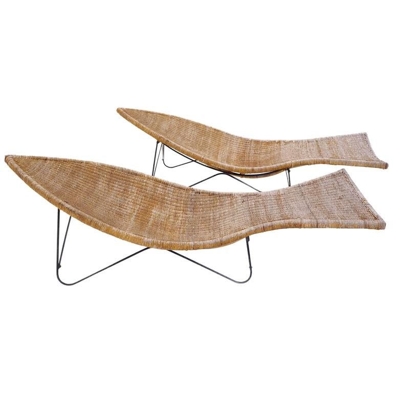 Pair Of Wicker Or Cane And Iron Fish Shaped Outdoor Or
