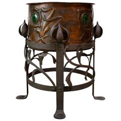 Early 20th Century French Arts & Crafts Copper Jardiniere and Stand