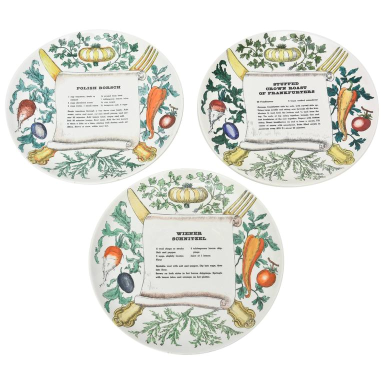 "Set of Three Italian Vintage Mid Century Fornasetti ""Recipe"" Porcelain Plates"