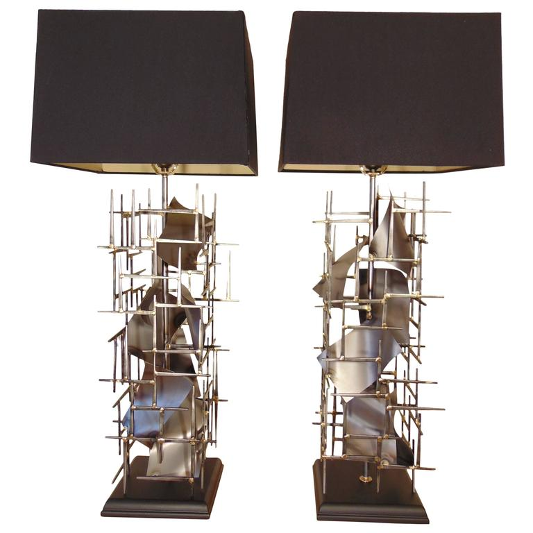 Pr of Brutalist Table Lamps hand made In steel, in the USA, by: Lou Blass,  For Sale
