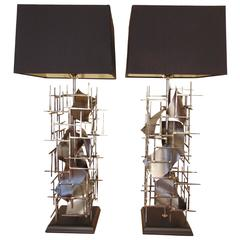Pr of Brutalist Table Lamps hand made In steel, in the USA, by: Lou Blass,