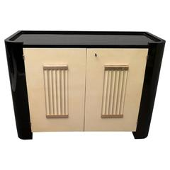 1930 Black Shellac and Parchment French Art Deco Sideboards