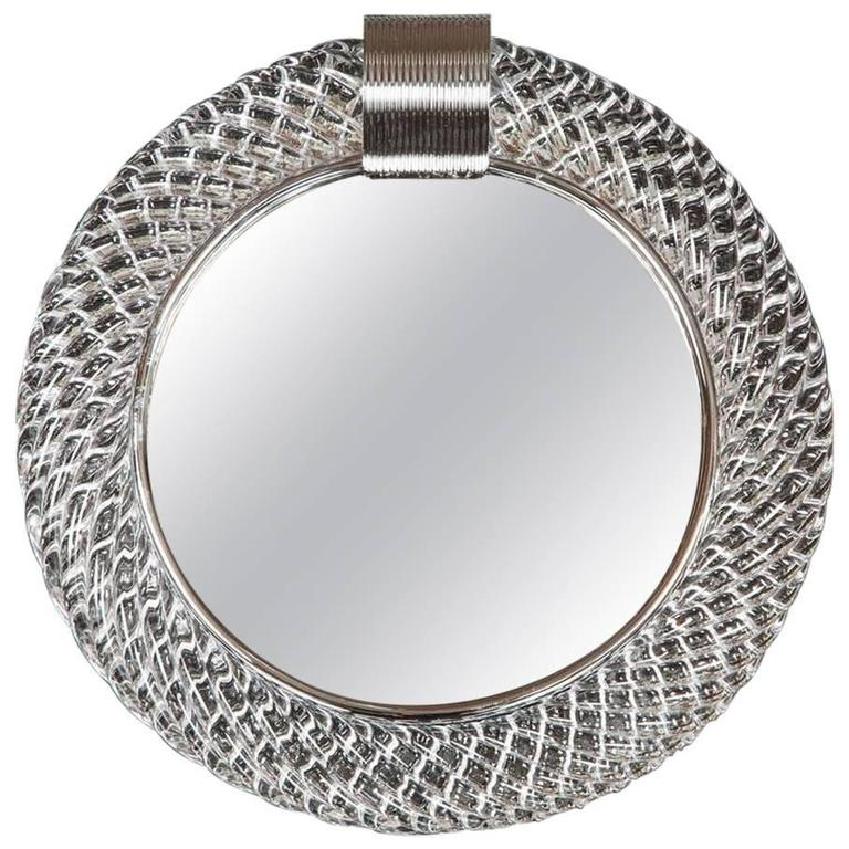 Murano Glass Circular Mirror With Chrome U0027Claspu0027 ...