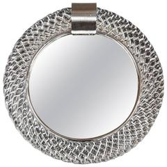 Murano Glass Circular Mirror with Chrome 'Clasp'