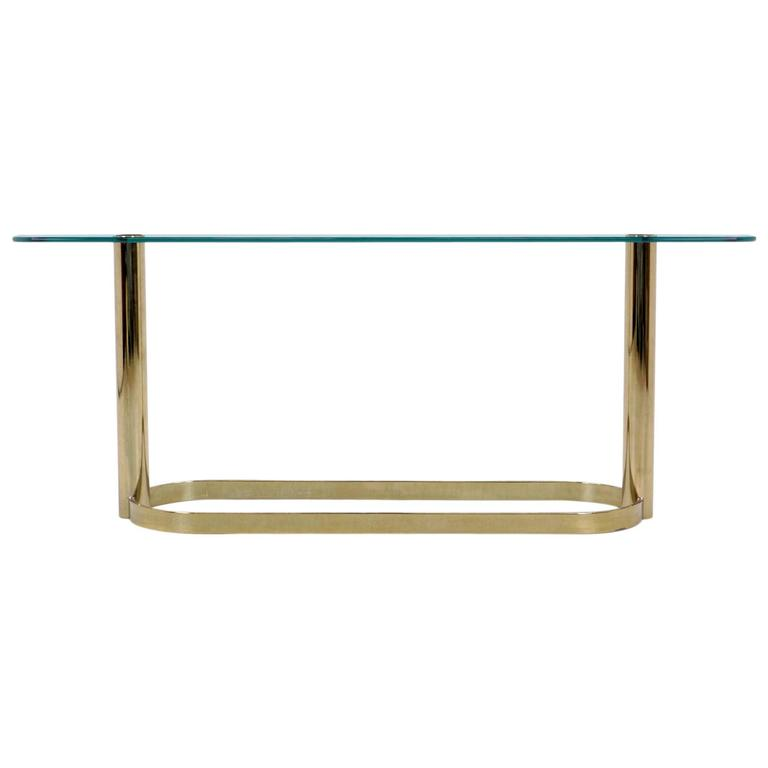 Pace Collection Glass Console/Sofa Table, Brass Base Nice Patina
