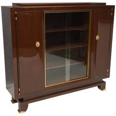 French Art Deco Mahogany Cabinet  signed piece by Jules Leleu