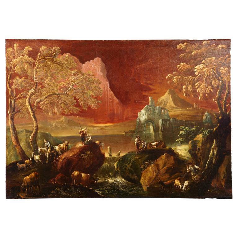 18th Century Italian Painting Attributed to Antonio Peruzzini and Marco Ricci