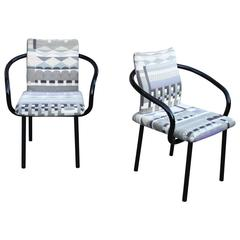 """Mandarin"" Armchairs by Knoll in Memphis Fabric"