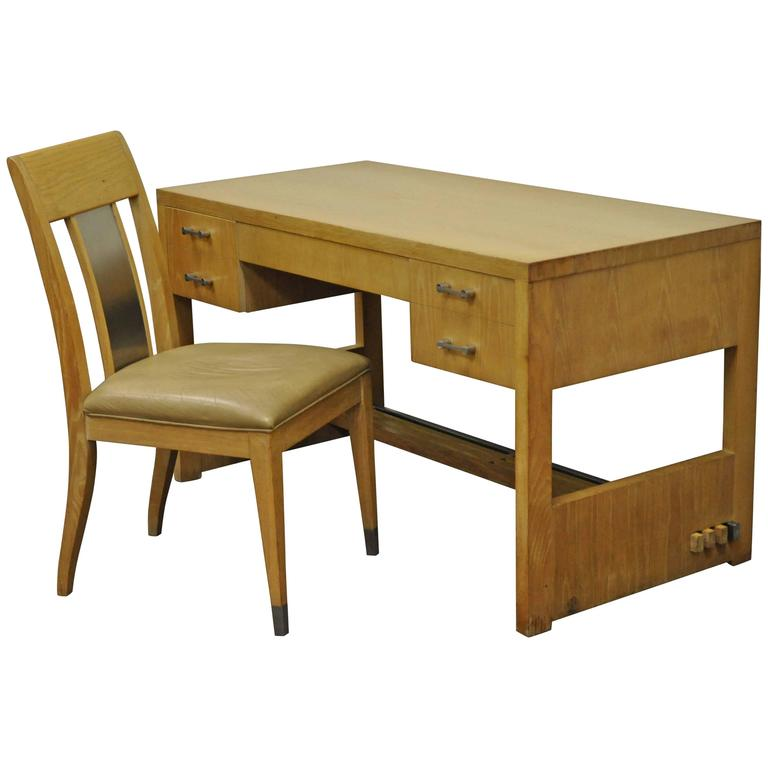 Mid-Century Modern Cerused Oak Desk and Side Chair by Jay Spectre for Century