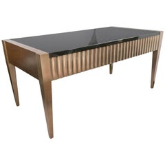 Brush Steel or Aluminum Clad, Granite Topped Writing Table