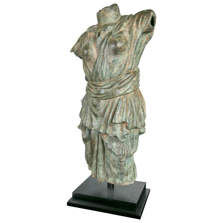 Draped Female Torso in Bronze, after the Antique For Sale