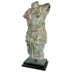 Draped Female Torso in Bronze, after the Antique