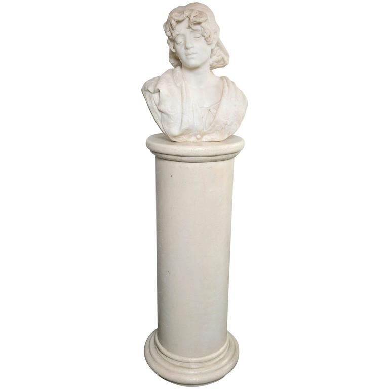 Carved White Marble Bust of a Young Lady