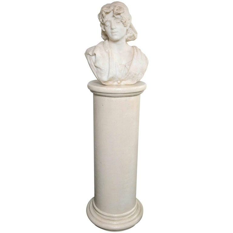 Carved White Marble Bust of a Young Lady For Sale