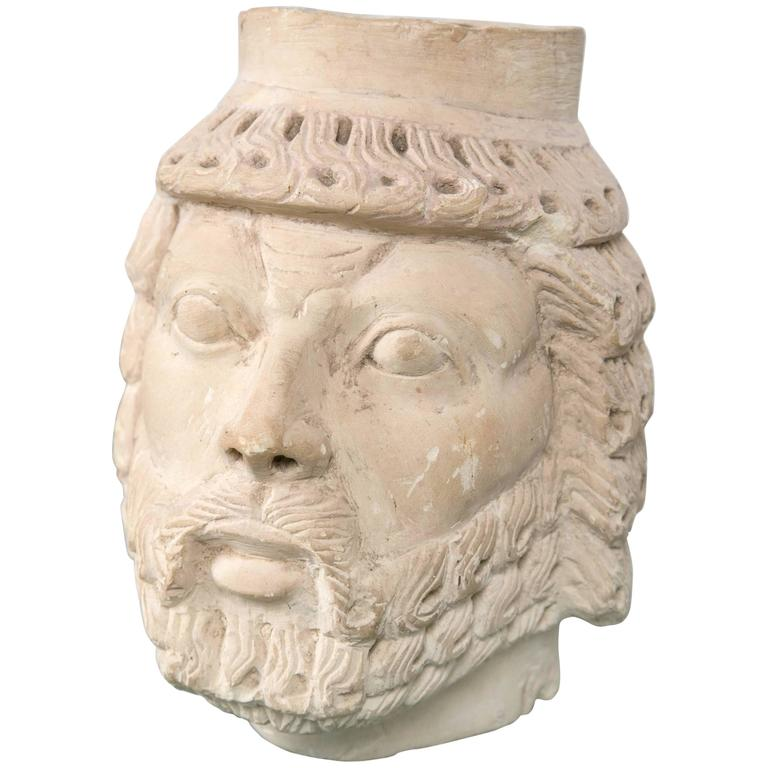 Dramatically Carved White Marble Head For Sale