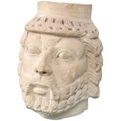 Dramatically Carved White Marble Head