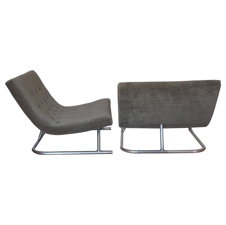 Pair of Low Lounge Chairs, 1960's 1
