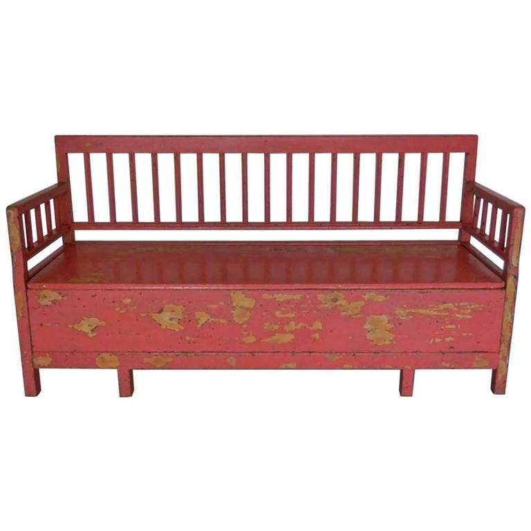 19th Century Painted Swedish Bench/Daybed