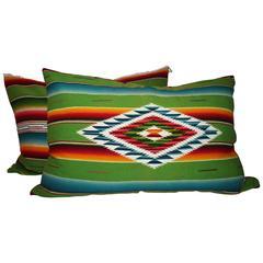 Pair of Monumental Serape Bolster Pillows