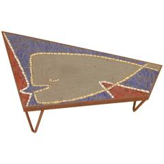 """Iron and Glass Mosaic Side Table """"Moby in Love"""""""