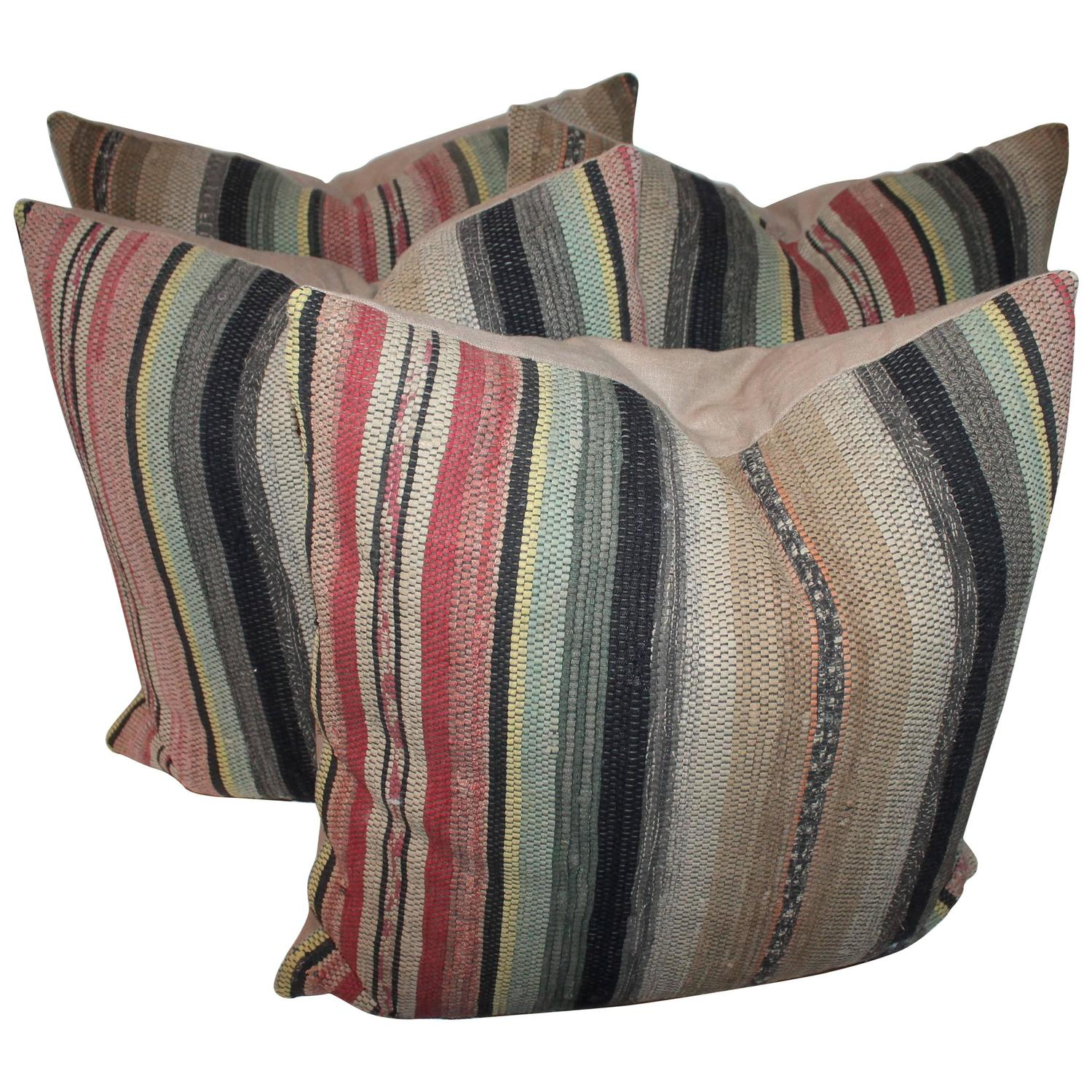 Pair Of 19th Century Rag Rug Pillows For Sale At 1stdibs