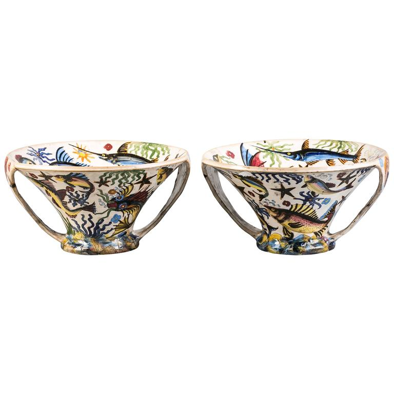Pair of Italian Ceramic Two-Handled Conical Centrepiece Bowls, circa 1900 For Sale