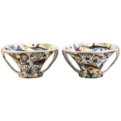 Pair of Italian Ceramic Two-Handled Conical Centrepiece Bowls, circa 1900