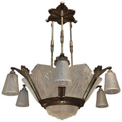 French Art Deco Big Chandelier by Muller Frères