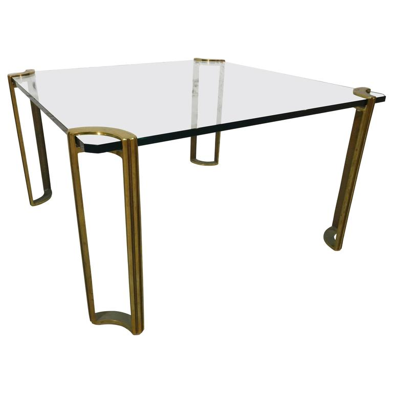 Square Bronze And Glass Coffee Table At 1stdibs
