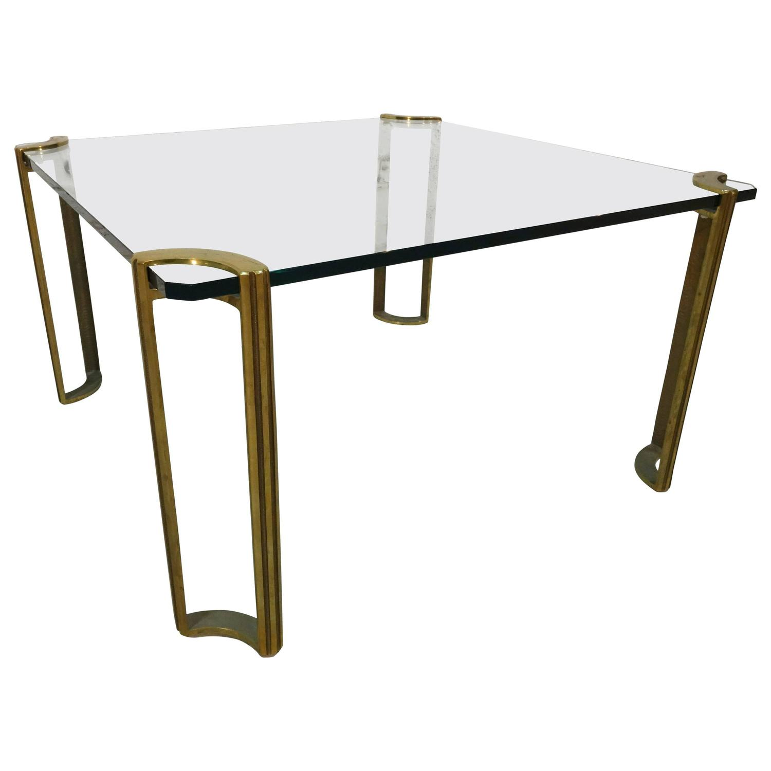 Artimeta Attributed Square Metal And Glass Coffee Table At: Square Bronze And Glass Coffee Table For Sale At 1stdibs