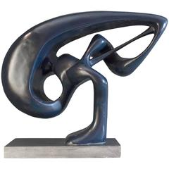 1960s French Blue Abstract Sculpture