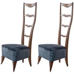 Pair of Hight-Back 1940 Chairs by Architect Italo Gamberini, Firenze