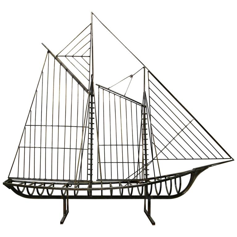 Large Curtis Jere Ship Sculpture For Sale