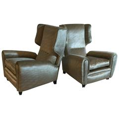 Pair of Wingback Armchairs in the Style of Paolo Buffa