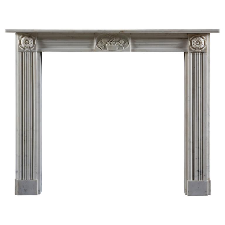 Early 19th Century Regency Statuary Marble Fireplace Mantel For Sale
