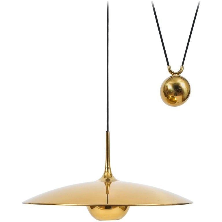 Large Adjustable Polished Brass Counterweight Pendant by Florian Schulz