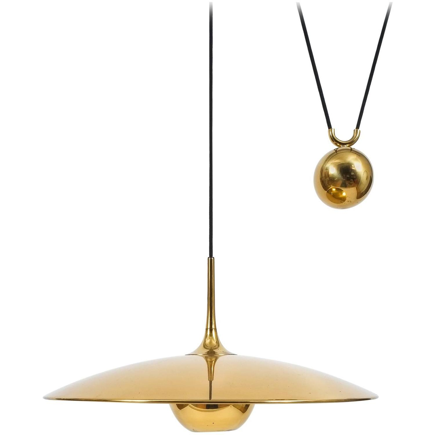 large adjustable polished brass counterweight pendant by. Black Bedroom Furniture Sets. Home Design Ideas