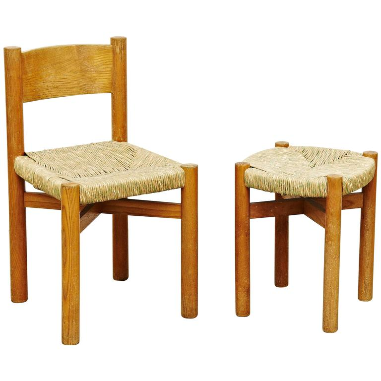 Set of Charlotte Perriand Chair and Stool for Meribel, circa 1950