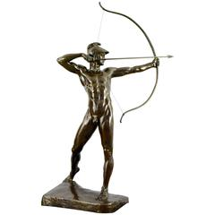 Antique Bronze Sculpture Male Nude Archer Ernst Moritz Geyger