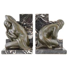 French Art Deco Bronze Bookends with Nudes by C. Levy Kinsbourg, 1930