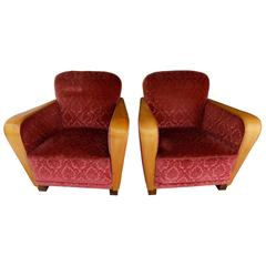 Pair of Swedish Art Deco Armchairs in Golden Elm, circa 1930