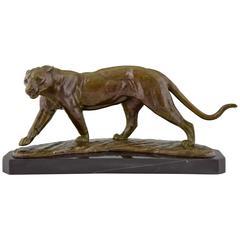 Art Deco Bronze Panther Sculpture by R. Sarat, 1930 France
