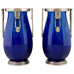 French Art Deco Ceramic and Silvered Bronze Vases by Paul Milet for Sevres, 1925