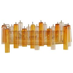 1960s Bicoloured Tubular Blown Glass and Metal Wall Sconce