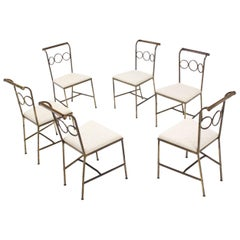 Set of Six Rare Brass Dining Side Chairs