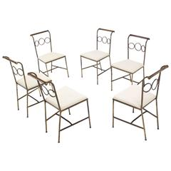 Set of Six Rare Brass Dining Side Chairs in Style of Jean Royère