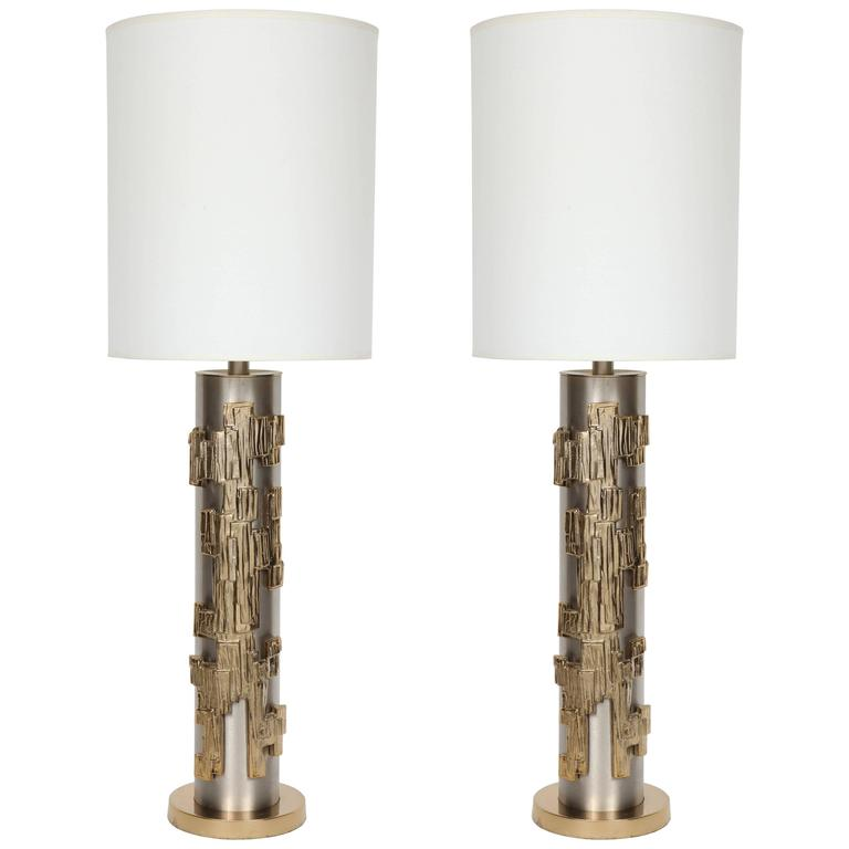 Pair of Brutalist Column Form Lamps 1